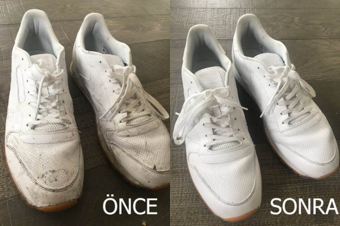 beyaz ayakkabıları temizleme