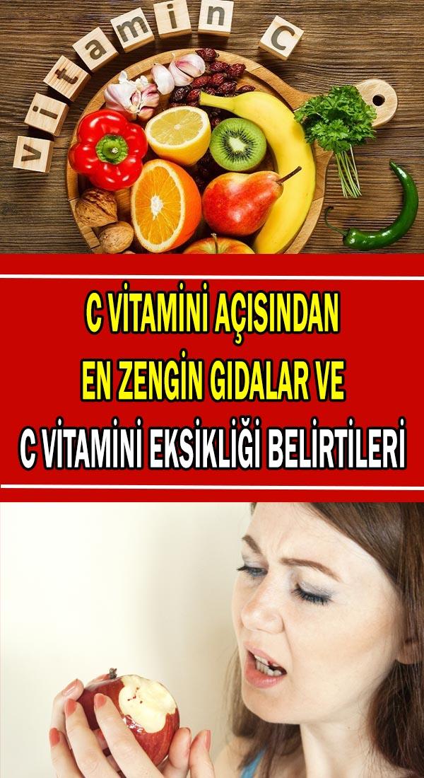 C vitamini açısından en zengin gıdalar ve C vitamini eksikliği belirtileri