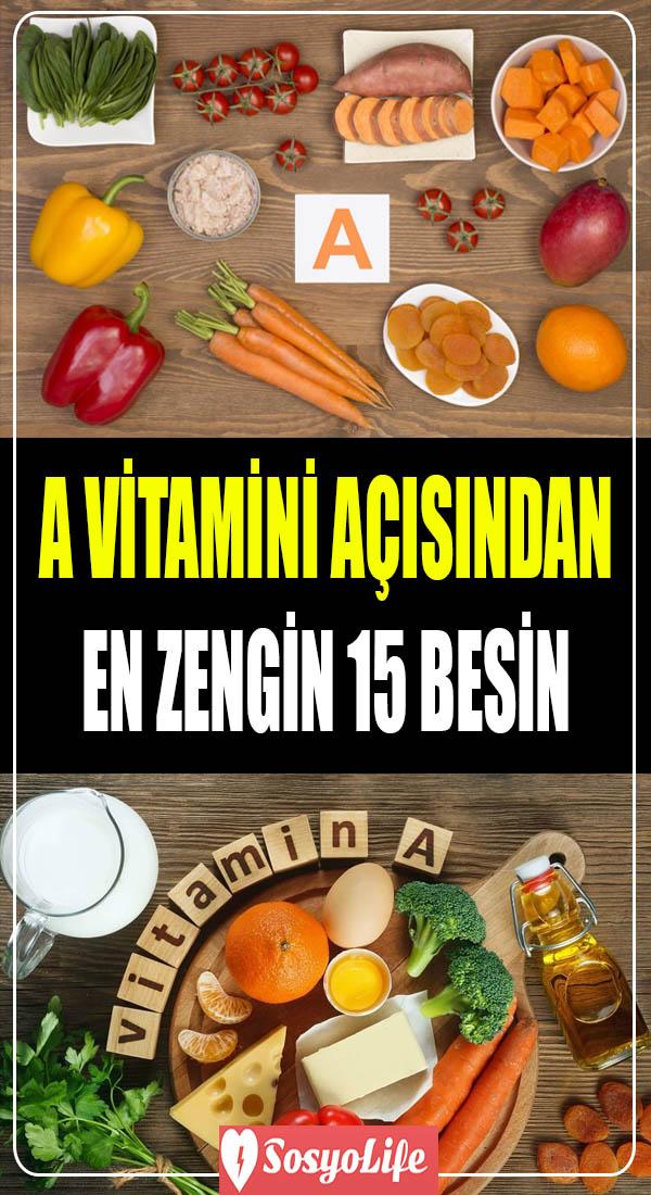 a vitamini açısından en zengin gıdalar
